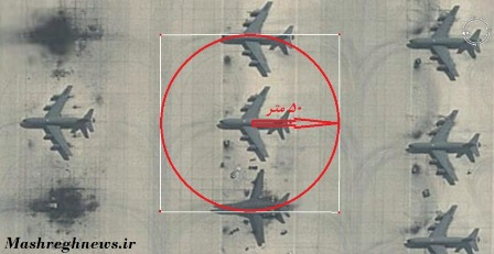 Mashregh's image of how the Zelzal could destroy targets at Al Udeid